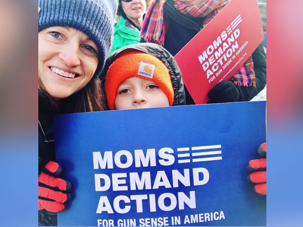 PHOTO: Nancy de Pastino started the Montana chapter of the gun control grassroots group Moms Demand Action. She brought her friends in one by one to join her effort. Here she is last January with her son.