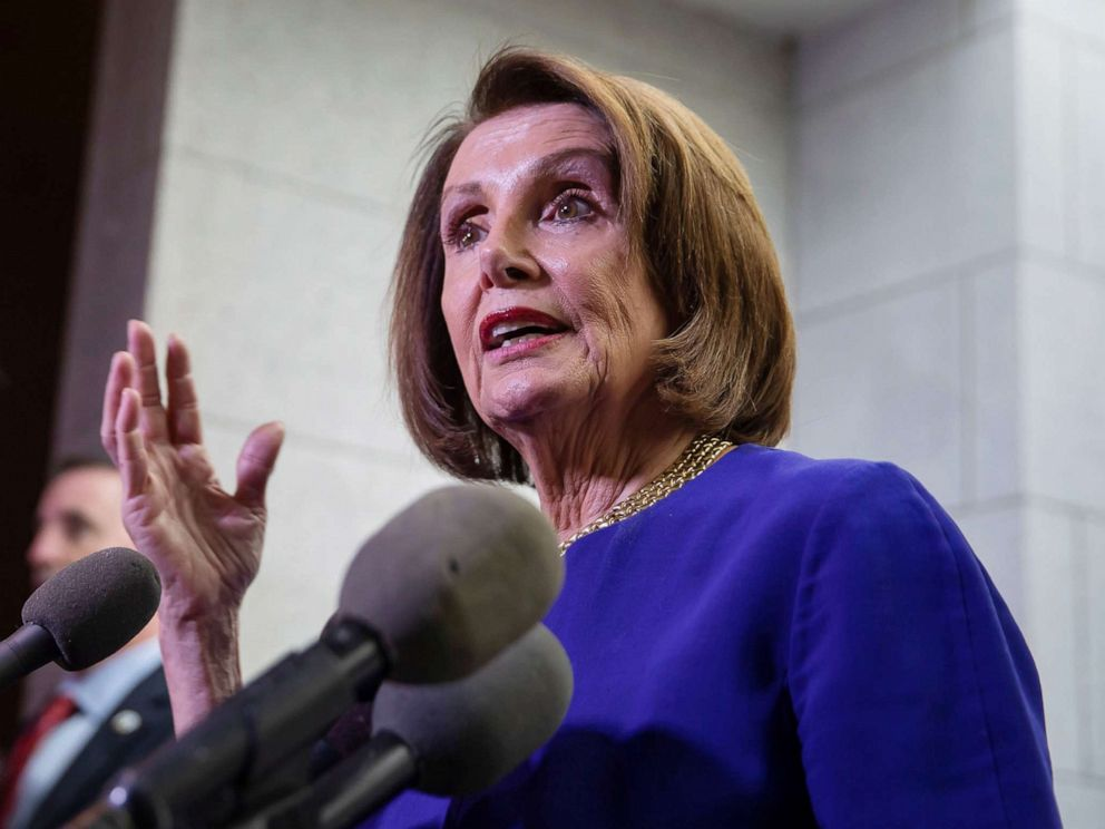 PHOTO: Speaker of the House Nancy Pelosi briefly speaks to the news media after leaving a House Democratic Caucus meeting at the Capitol in Washington, May 22, 2019.