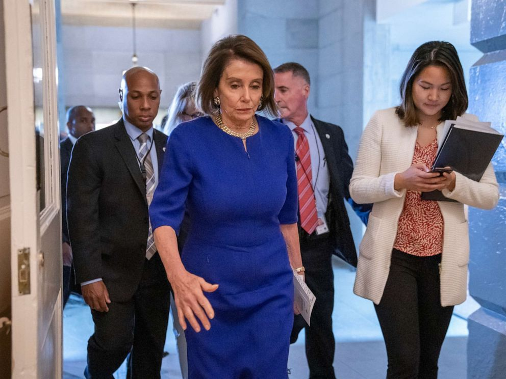PHOTO: Speaker of the House Nancy Pelosi departs after meeting with all the House Democrats at the Capitol in Washington, May 22, 2019.