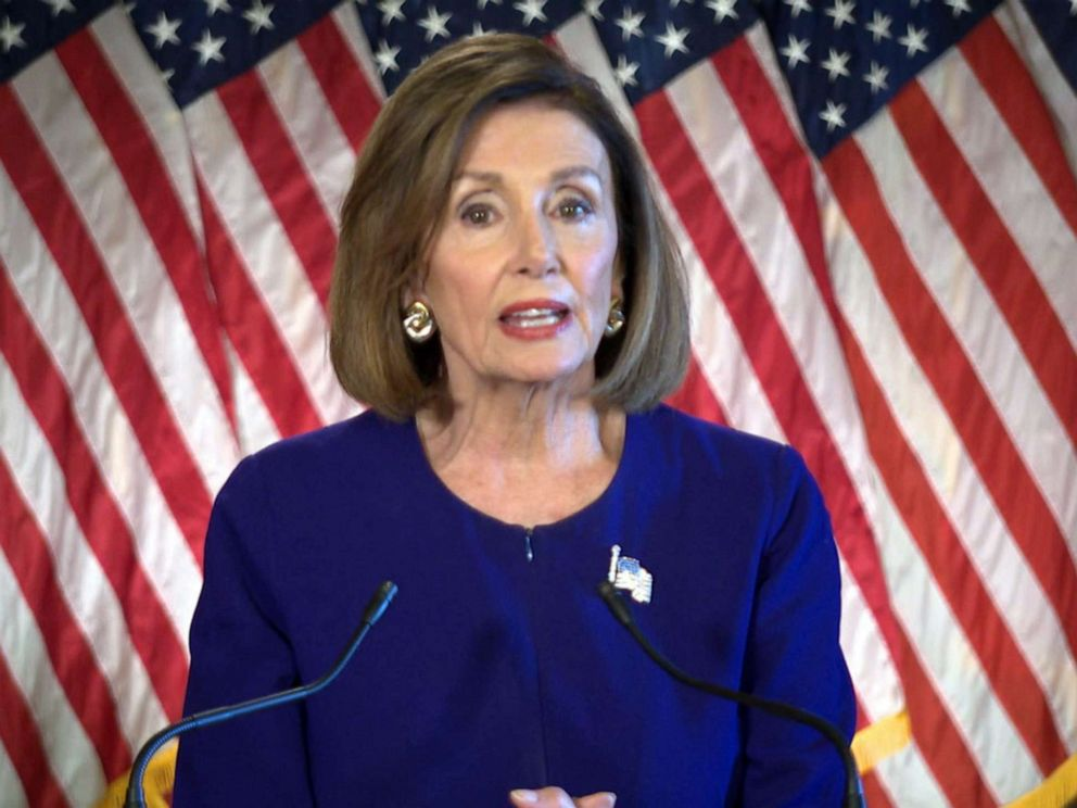 PHOTO: Speaker of the House Nancy Pelosi makes an announcement after a meeting with the House Democratic Caucus about an impeachment inquiry of President Trump in the Capitol on Sept. 24, 2019.