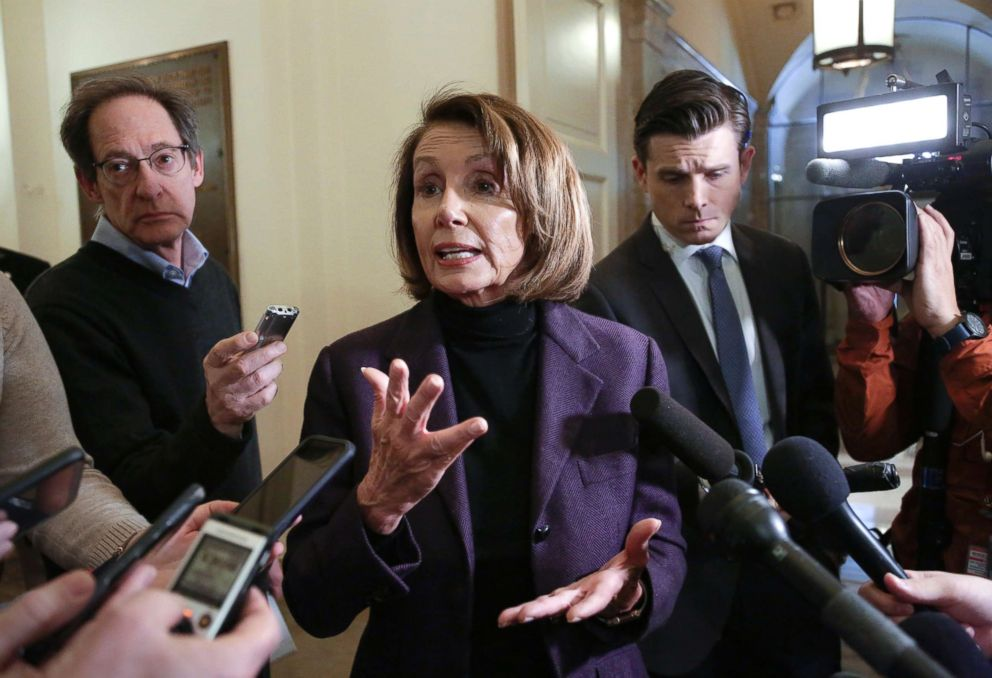 PHOTO: Speaker of the House Nancy Pelosi takes questions from reporters, Jan. 18, 2019, on Capitol Hill in Washington.