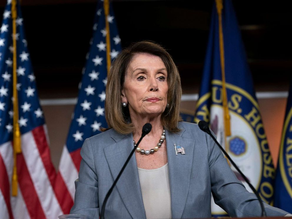 PHOTO: Speaker of the House Nancy Pelosi meets with reporters the day after the Democrat-controlled House Judiciary Committee voted to hold Attorney General William Barr in contempt of Congress, at a news conference in Washington, May 9, 2019.
