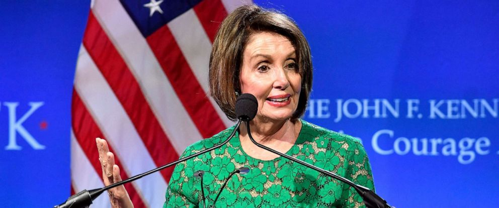 PHOTO: Speaker of the House Nancy Pelosi speaks after she received the 2019 John F. Kennedy Profile in Courage Award, May 19, 2019, at the John F. Kennedy Presidential Library and Museum in Boston.