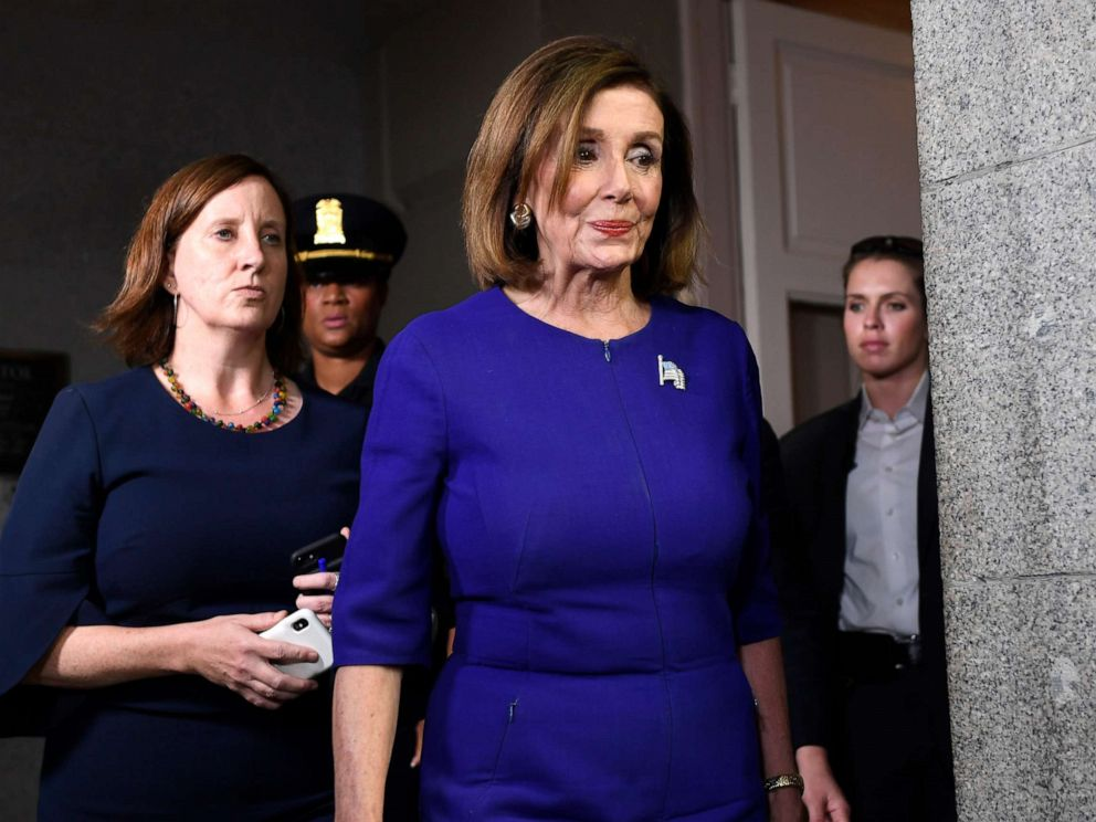 PHOTO: House Speaker Nancy Pelosi of Calif., heads to a meeting with her caucus on Capitol Hill in Washington, Sept. 24, 2019