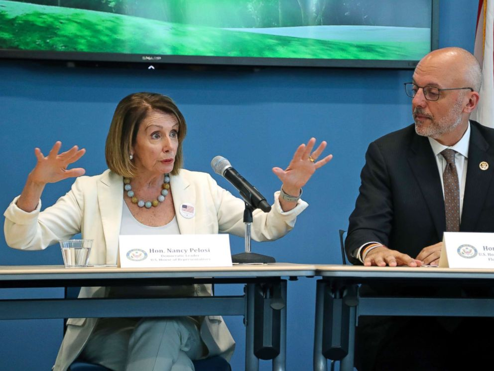 PHOTO: Rep. Ted Deutch looks on as House Minority Leader Nancy Pelosi speaks during a roundtable on gun violence at Coral Springs City Hall, Oct. 17, 2018, in Coral Springs, Fla.