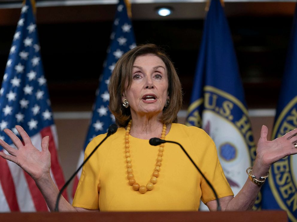 PHOTO: Speaker of the House Nancy Pelosi meets with reporters before joining congressional leaders at a closed-door security briefing on the rising tensions with Iran, at the Capitol in Washington on June 20, 2019.
