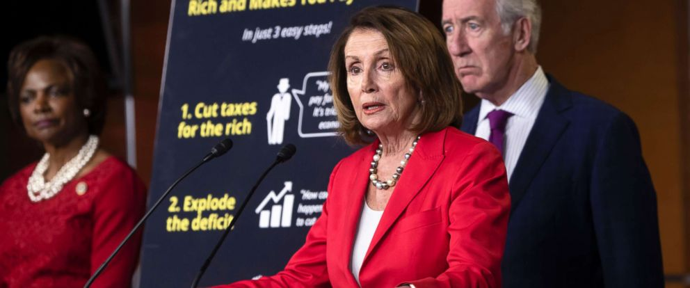 PHOTO: House Minority Leader Nancy Pelosi asserts that the debt created by the Republican tax cut enacted six months ago was a step toward compromising Social Security and Medicare, during a news conference on Capitol Hill, in Washington, June 20, 2018.