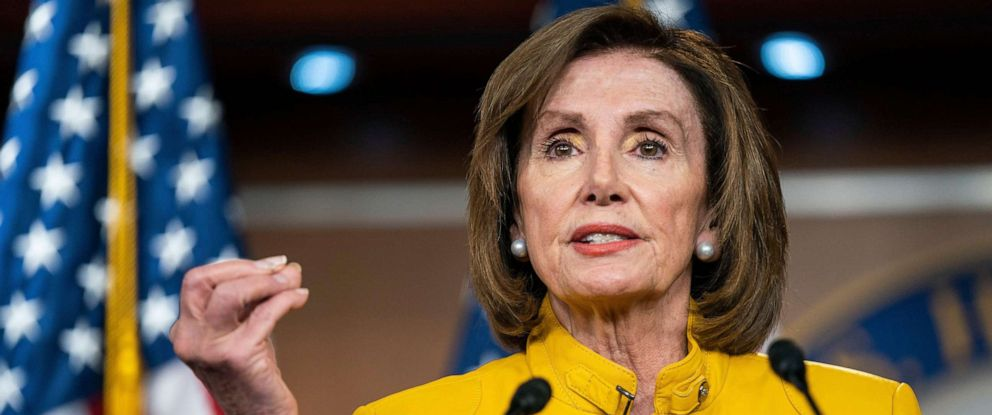 PHOTO: Democratic Speaker of the House, Nancy Pelosi speaks to the press about President Trumps statements, at the US Capitol in Washington, DC, June 13, 2019.