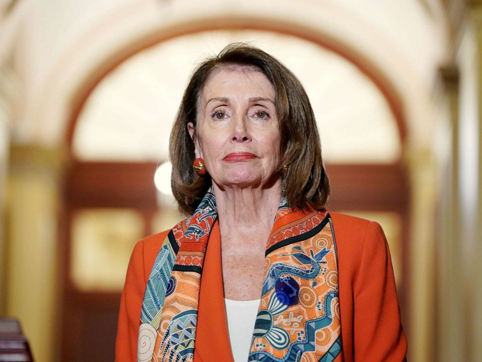 PHOTO: Speaker of the House Nancy Pelosi stands during a meeting with European Parliament President Antonio Tajani on Capitol Hill in Washington, Feb. 27, 2019.