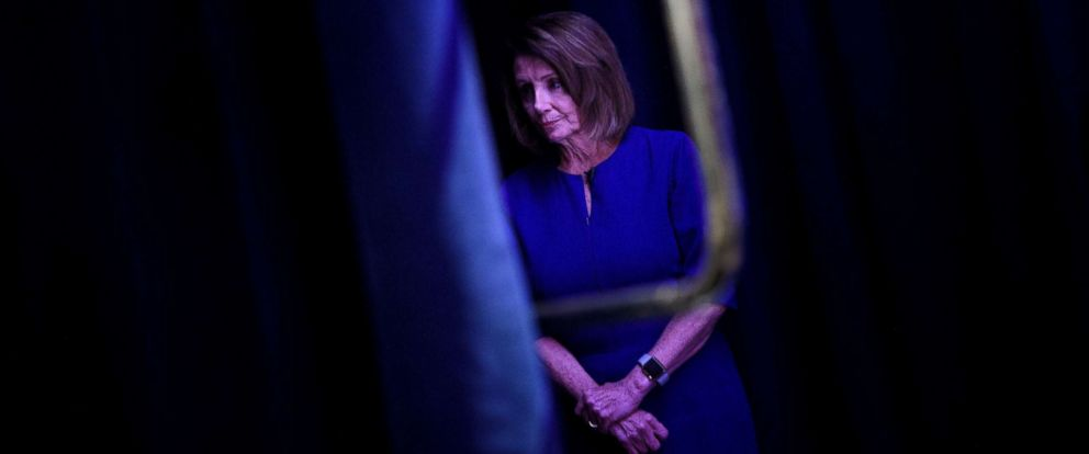 PHOTO: House Minority Leader Nancy Pelosi waits to speak during a midterm election night party hosted by the Democratic Congressional Campaign Committee Nov. 6, 2018 in Washington.