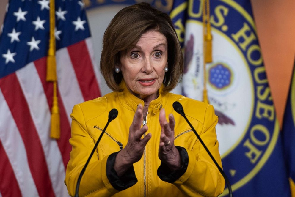 PHOTO: Speaker of the US House of Representatives Nancy Pelosi speaks to the press on June 13, 2019, during her weekly press conference on Capitol Hill in Washington.