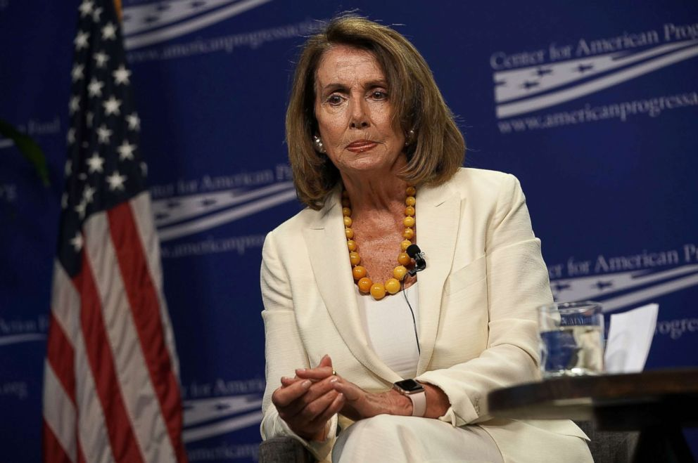 PHOTO: House Minority Leader Rep. Nancy Pelosi listens during a discussion at Center for American Progress Action Fund in Washington, D.C., July 16, 2018.