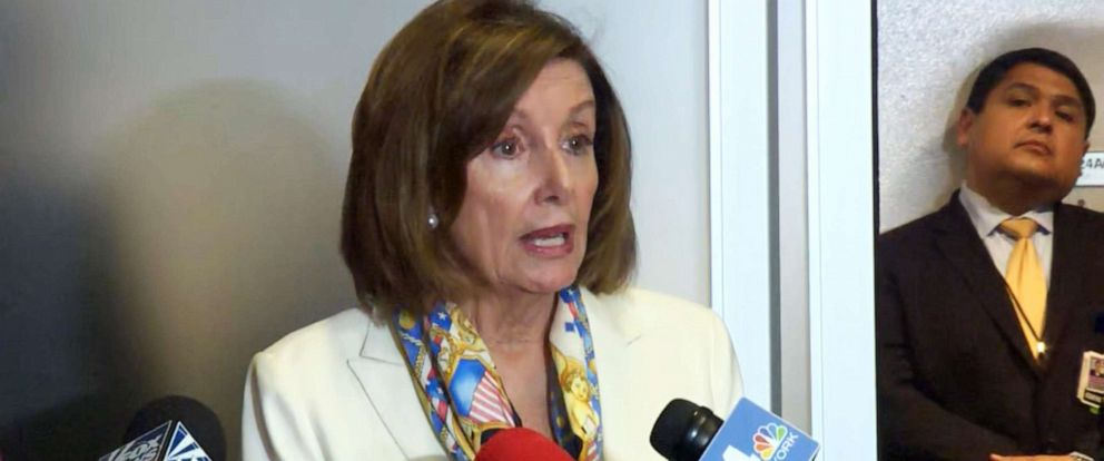 PHOTO: Speaker of the House Nancy Pelosi talks to reporters while making an appearance in the Queens borough of New York, June 24, 2019.