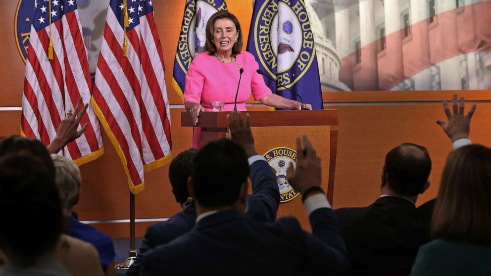 PHOTO: Speaker of the House Nancy Pelosi holds a news conference at the U.S. Capitol on Sept. 23, 2021 in Washington, D.C. Pelosi, Charles Schumer and other Democrats met with President Biden to hammer out a deal on infrastructure and budget legislation.