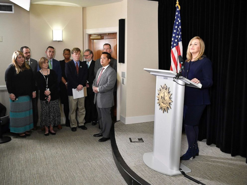 PHOTO: Nashville Mayor Megan Barry announces her resignation at a press conference in the mayors conference room at Metro Courthouse, March 6, 2018, in Nashville, Tenn.