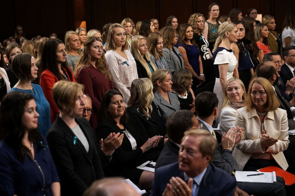 PHOTO: Sexual abuse survivors from the Larry Nassar sexual abuse case stand up as they are acknowledged during a hearing before a Senate subcommittee, July 24, 2018 in Washington.