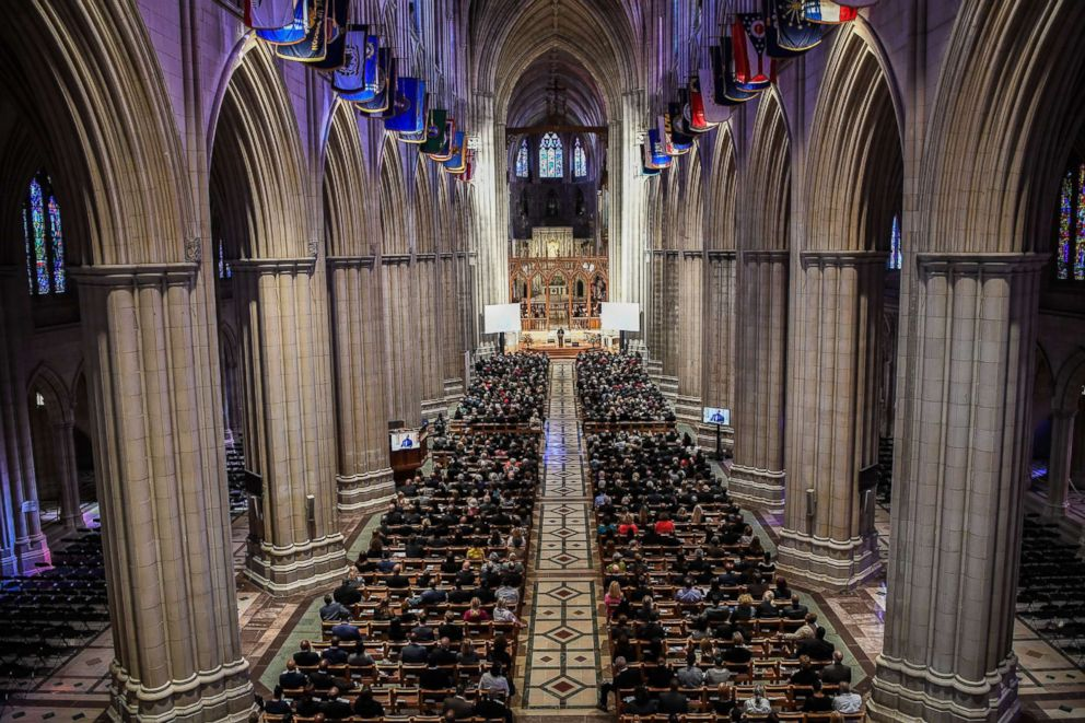 PHOTO: The memorial celebration service for Jim Vance was attended by a large crowd of people at the Washington National Cathedral, Sept. 12, 2017, in Washington, D.C.