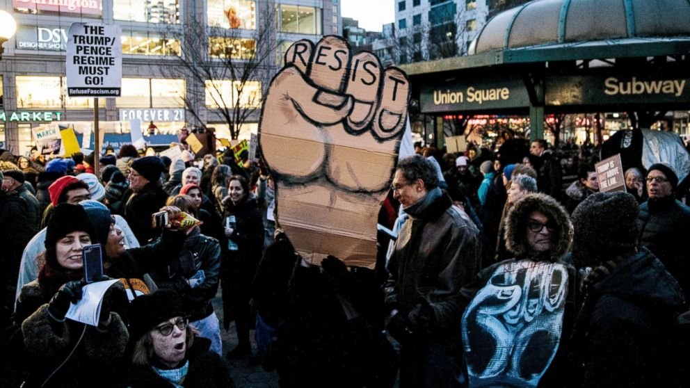 People protest against President Donald Trump in New York City, Feb. 18, 2019, after the President declared a national emergency to build the border wall.People protest against US President Donald J. Trump's decision to declare a national state of emergency to build the border wall, New York, USA - 18 Feb 2019