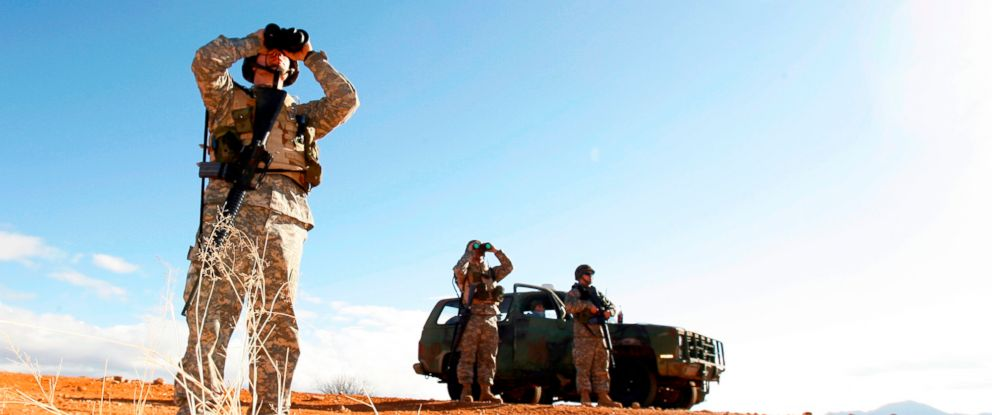 PHOTO: 2007 file photo of National Guard unit patrolling the Arizona-Mexico border in Sasabe, Ariz.