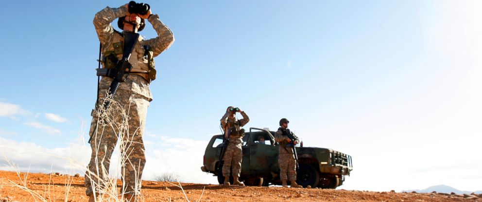 PHOTO: A National Guard unit patrols at the Arizona-Mexico border in Sasabe, Ariz., Jan. 19, 2007.
