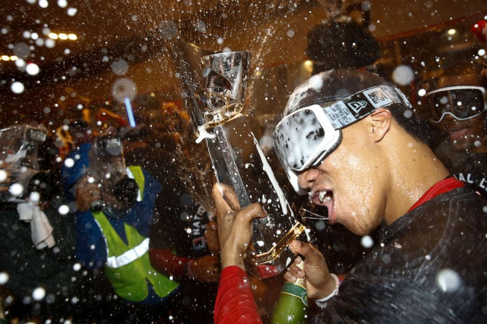 World Politics PHOTO: Washington Nationals Juan Soto celebrates after game 4 of the baseball National League Championship Series against the St. Louis Cardinals, Oct. 16, 2019, in Washington.