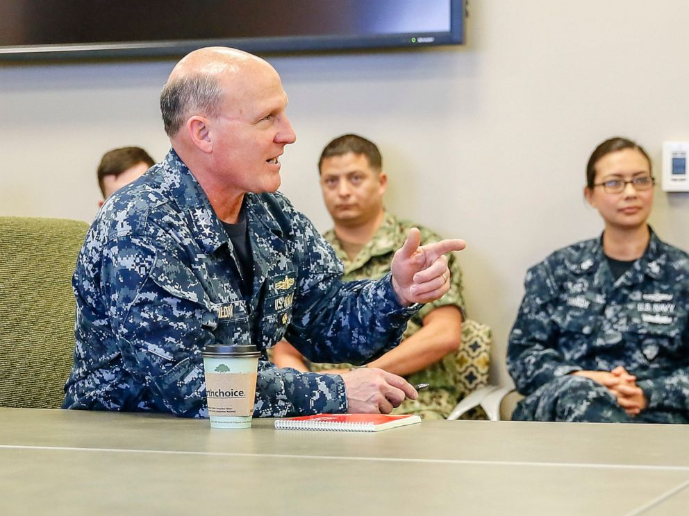 PHOTO: In this Mar. 13, 2017, file photo, Vice Adm. Mike Gilday, commander, U.S. Fleet Cyber Command/U.S. 10th Fleet speaks with Sailors assigned to Navy Information Operations Command (NIOC) Colorado/Task Force 1080.