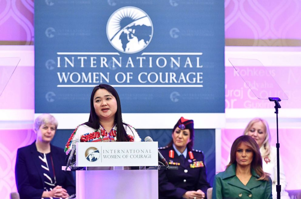 PHOTO: Award recipient Naw Knyaw Paw of Myanmar speaks during the 2019 International Women of Courage awards ceremony in Washington, D.C., March 7, 2019.
