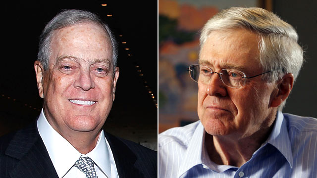 PHOTO: David Koch, left, attends the 2011 David Rockefeller Award Luncheon, March 8, 2011 in New York City. Charles Koch, right, speaks with the press about his new book on Market Based Management.