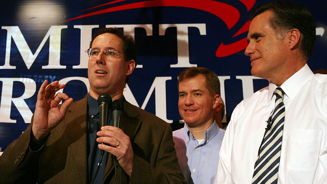 PHOTO: Sen. Rick Santorum speaks on behalf of republican presidential hopeful Mitt Romney during a campaign stop at a Dave and Buster's Restaurant in Maryland Heights, Missouri, Feb. 3, 2008.