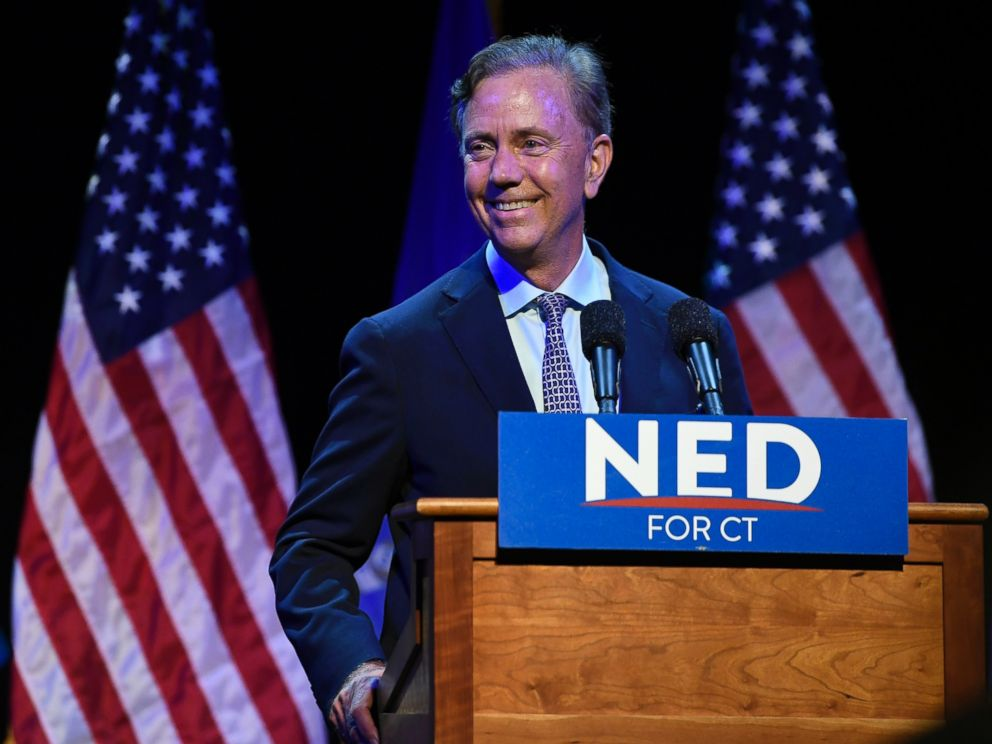 Connecticut gubernatorial candidate Ned Lamont celebrates after defeating Joe Ganim in the Democratic primary in New Haven, Conn., Tuesday, Aug. 14, 2018.