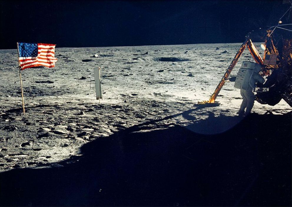 PHOTO: One of the few photographs of Neil Armstrong on the moon shows him working on his space craft on the lunar surface.