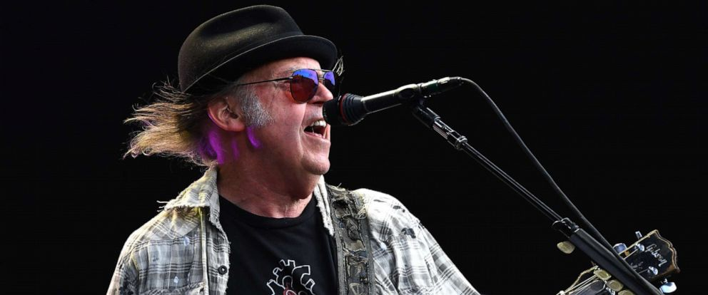 PHOTO: Neil Young performs as part of a historic double bill with Bob Dylan at Hyde Park on July 12, 2019 in London, England.