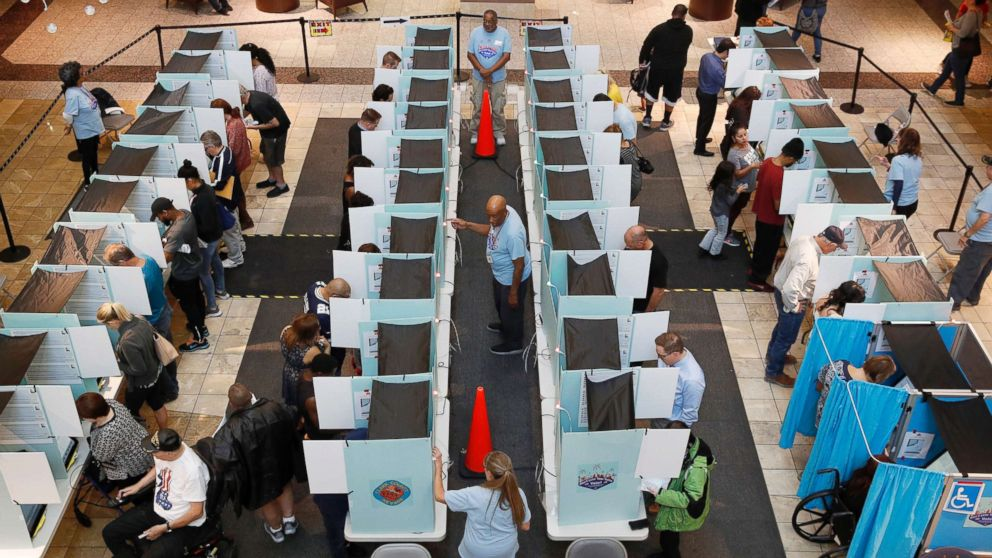 People vote at a mall, Nov. 6, 2018, in Henderson, Nev.