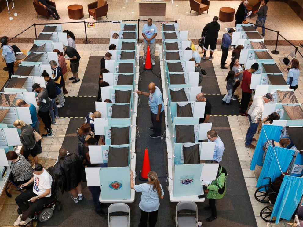 PHOTO: People vote at a mall, Nov. 6, 2018, in Henderson, Nev.