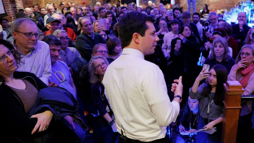 South Bend Mayor Pete Buttigieg speaks during a campaign stop at Portsmouth Gas Light in Portsmouth, N.H., March 8, 2019.