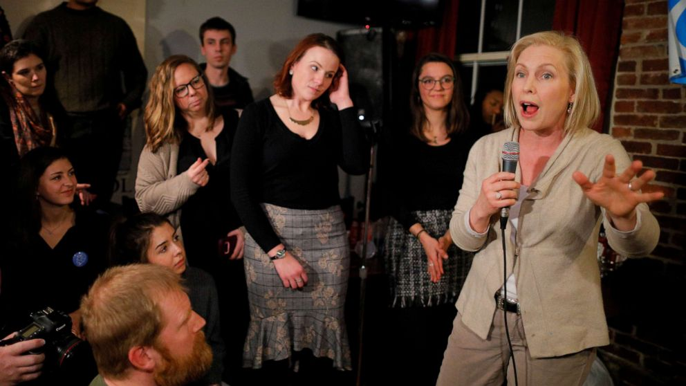 Senator Kirsten Gillibrand speaks to young Democrats at a campaign stop at Stark Brewing in Manchester, N.H., Feb. 1, 2019.