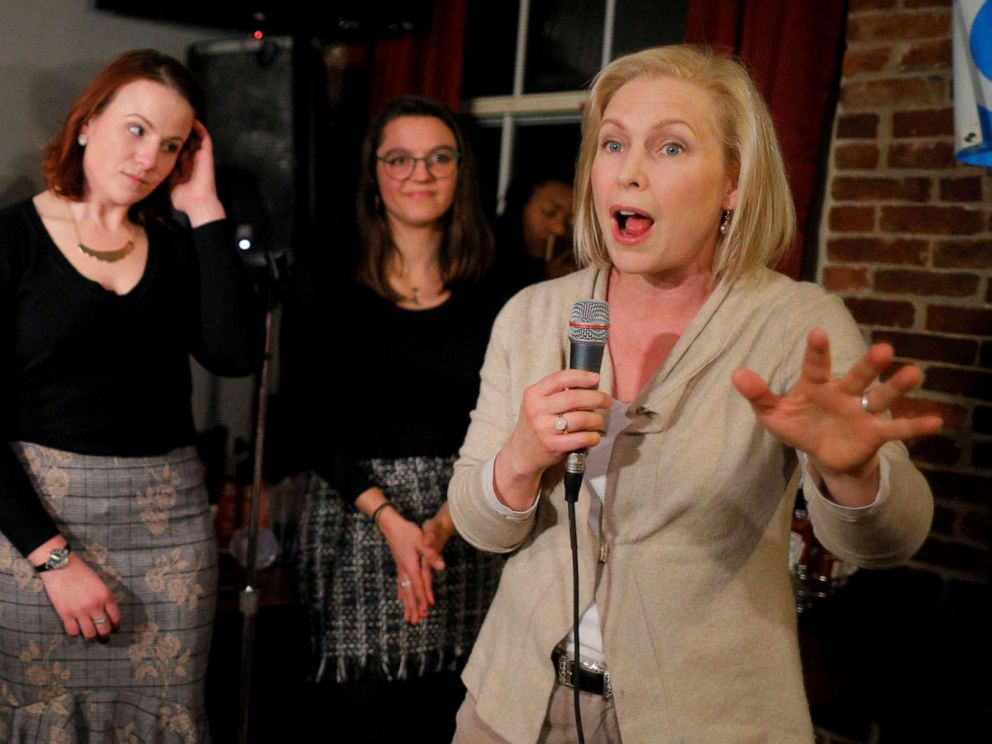 PHOTO: Senator Kirsten Gillibrand speaks to young Democrats at a campaign stop at Stark Brewing in Manchester, N.H., Feb. 1, 2019.
