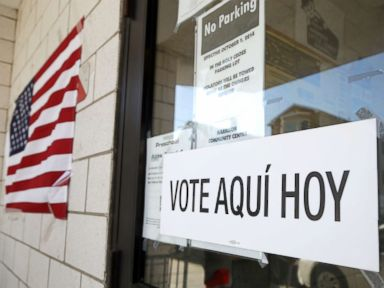 PHOTO: A sign announces in Spanish, a polling place outside of the Harrison Community Center in Harrison during New Jersey primary election, June 5, 2018, in Harrison, N.J.