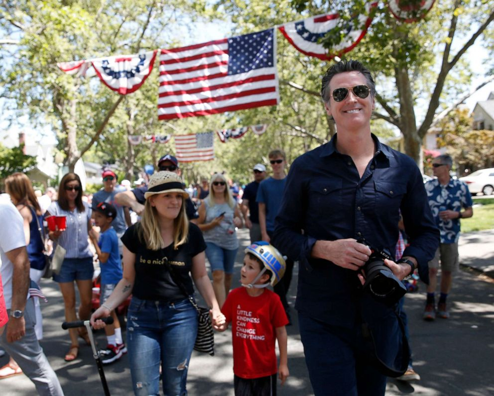 PHOTO: California Gov. Gavin Newsom joined others at the annual East Sacramento 4th of July Parade in Sacramento, Calif., July 4, 2019.