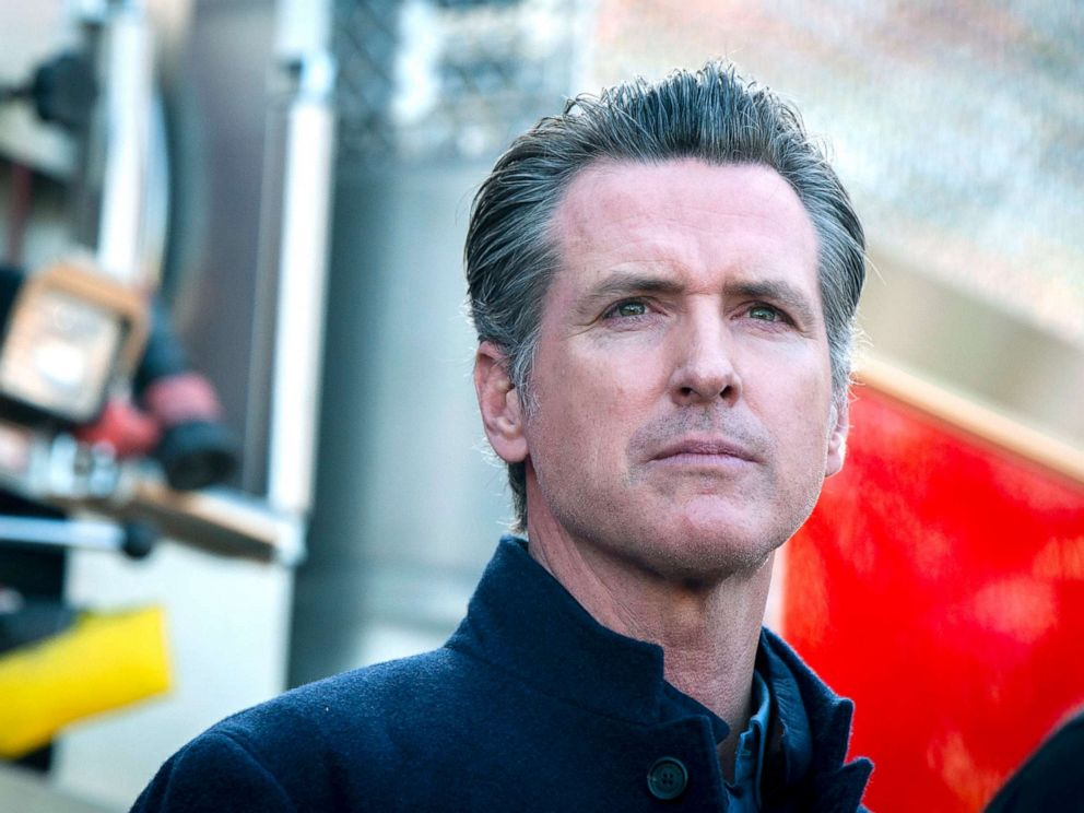 PHOTO: California Governor Gavin Newsom speaks at a press conference for an update on the Getty Fire in Los Angeles, Oct. 29, 2019.