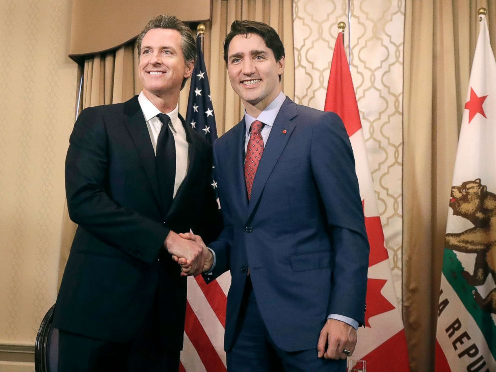 PHOTO: Canadas Prime Minister Justin Trudeau, right, meets with California Lt. Gov. Gavin Newsom while meeting in San Francisco, Feb. 9, 2018.