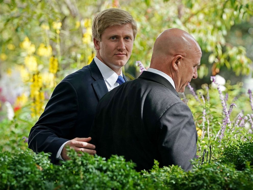 PHOTO: Vice President Mike Pences Chief of Staff Nick Ayers and National Security Advisor H.R. McMaster arrive in the Rose Garden before a press conference at the White House, Oct. 23, 2017 in Washington.