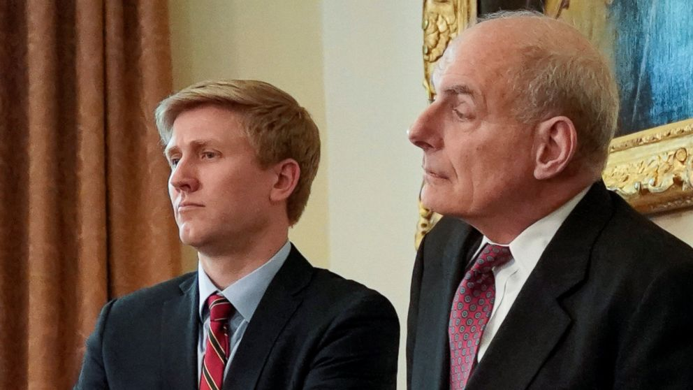 Nick Ayers (L), chief of staff to Vice President Mike Pence, and White House Chief of Staff John Kelly look on as President Donald Trump holds a cabinet meeting at the White House in Washington, May 9, 2018.