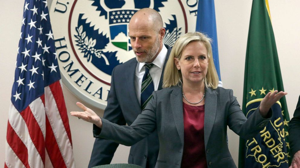 Kirstjen Nielsen, the secretary of Homeland Security and Ronald Vitiello, visited the Rio Grande Valley on Thursday to meet with local law enforcement at the Rio Grande Border Patrol Sector on March, 21, 2019 in McAllen, Texas.