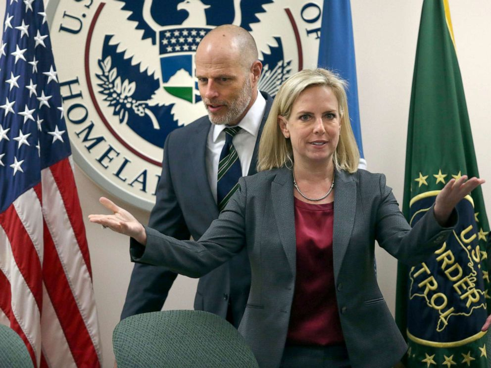 PHOTO: Kirstjen Nielsen, the secretary of Homeland Security and Ronald Vitiello, visited the Rio Grande Valley on Thursday to meet with local law enforcement at the Rio Grande Border Patrol Sector on March, 21, 2019 in McAllen, Texas.
