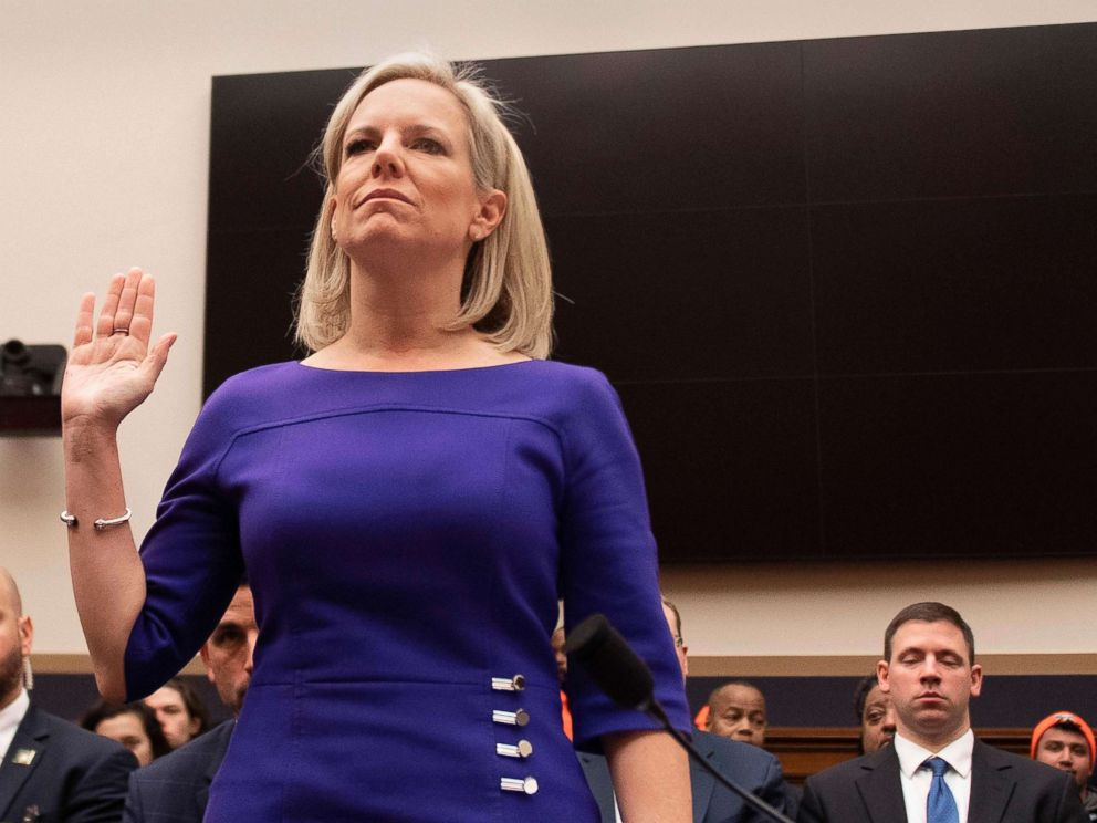 PHOTO: Secretary of Homeland Security Kirstjen Nielsen is sworn in ahead of her testimony to the Judiciary Committee on Homeland Security Oversight in Washington, D.C., Dec. 20, 2018.