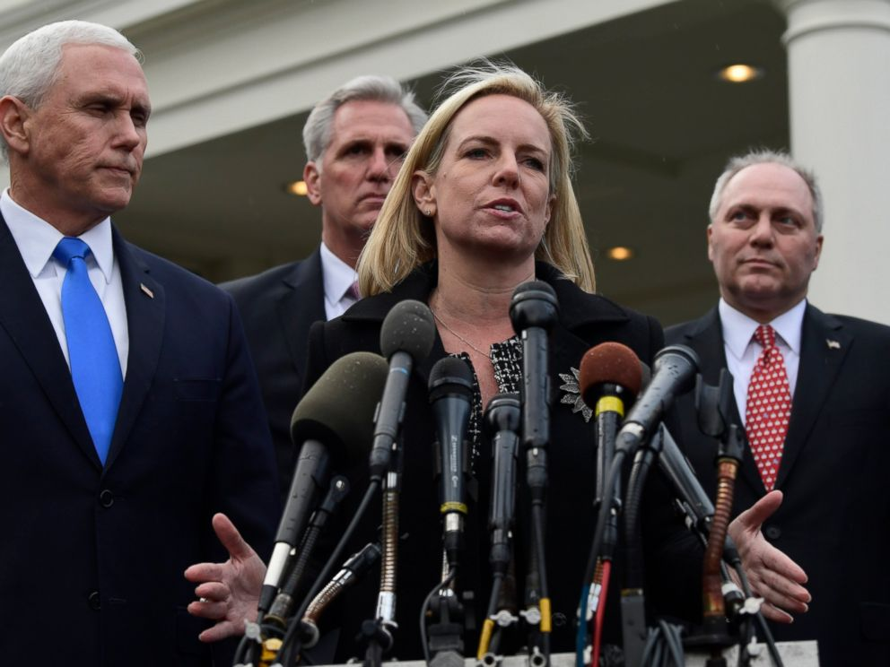 PHOTO: In this Jan. 9, 2019, photo, Homeland Security Secretary Kirstjen Nielsen, second from right, standing with Vice President Mike Pence, speaks to reporters following a meeting at the White House in Washington.