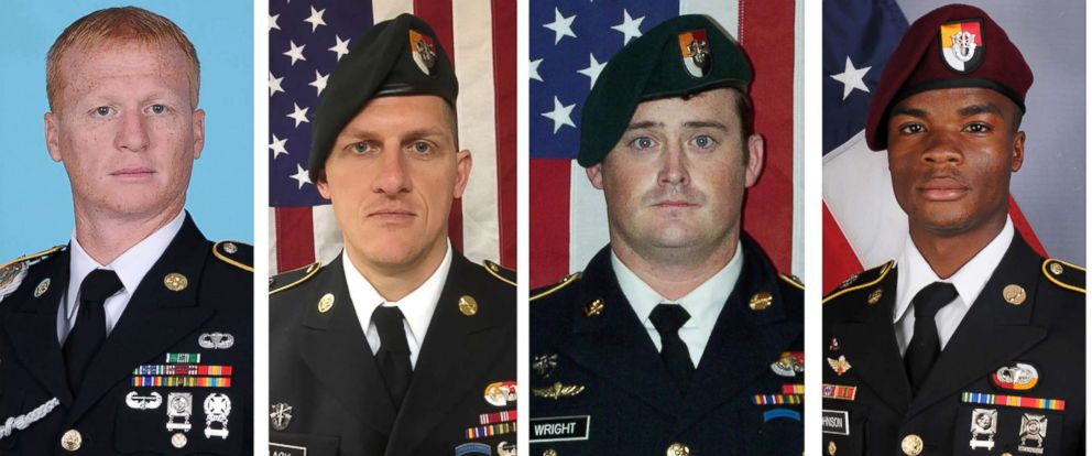 PHOTO: These handout photos released Oct. 8, 2017, show, (L to R), U.S. Army Special Forces Sergeants Jeremiah Johnson, Bryan Black, Dustin Wright and La David Johnson killed in Niger, West Africa on Oct. 4, 2017.