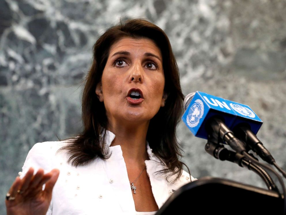 USA ambassador to UN Nikki Haley resigning; she gives no reason
