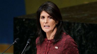 'PHOTO: U.S. Ambassador to the United Nations Nikki Haley speaks1_b@b_1the U.N. General Assembly, Dec. 21, 2017,1_b@b_1United Nations headquarters in New York.' from the web at 'https://s.abcnews.com/images/Politics/nikki-haley-1-epa-jt-171221_16x9t_384.jpg'